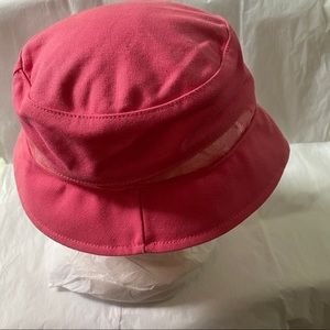 lei Pink Bucket Hat with See-through Mesh Trim